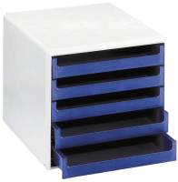 M+M Schubladenbox 5 Laden hellgrau/blau 30050911