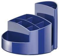 Schreibtischköcher RONDO 9 Fächer, Gummifüße, Briefschlitz, hochglänzend, blau