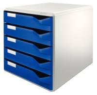 5280 Schubladenset Post Set A4 C4, 5 halboffene Schubladen, lichtgrau blau