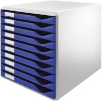 5281 Schubladenset Formular Set A4 C4, 10 geschlossene Schubladen, lichtgrau blau