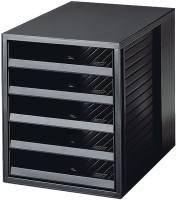Schubladenbox SCHRANK SET KARMA A4 C4, 5 offene Schubladen, öko schwarz
