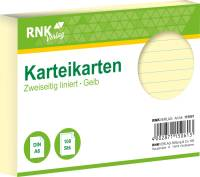 Karteikarten DIN A6, liniert, gelb, 100 Karten