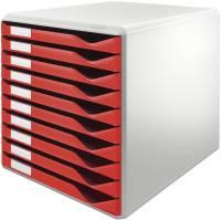 5281 Schubladenset Formular Set A4 C4, 10 geschlossene Schubladen, lichtgrau rot