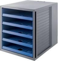 Schubladenbox SCHRANK SET KARMA A4 C4, 5 offene Schubladen, grau öko blau
